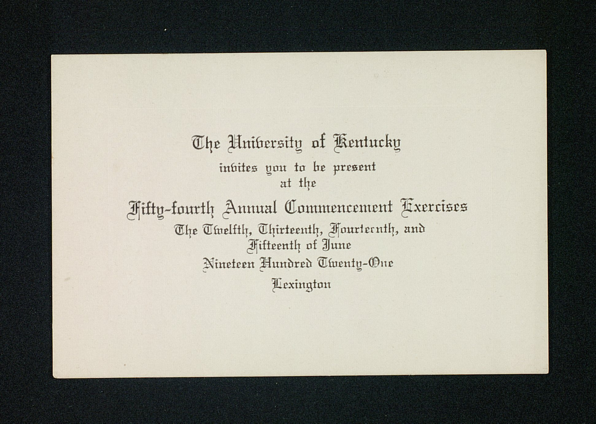 Uk 54th annual commencement exercises invite card kentucky digital part of university of kentucky commencement programs and invitations stopboris Choice Image