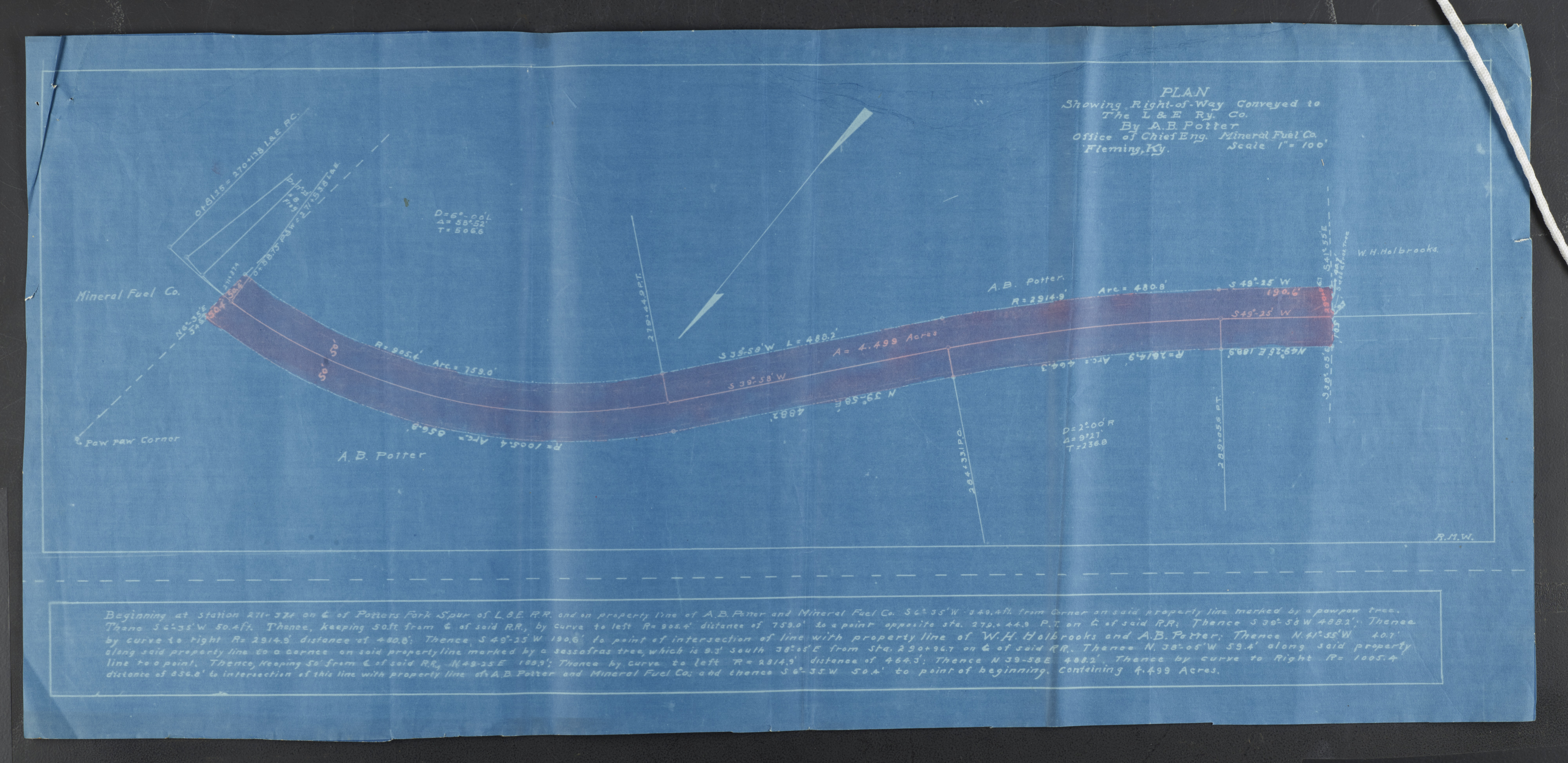 25 blueprint of plan showing right of way conveyed to the le ry part of louisville and nashville railroad company and lexington and eastern railway company records malvernweather Images