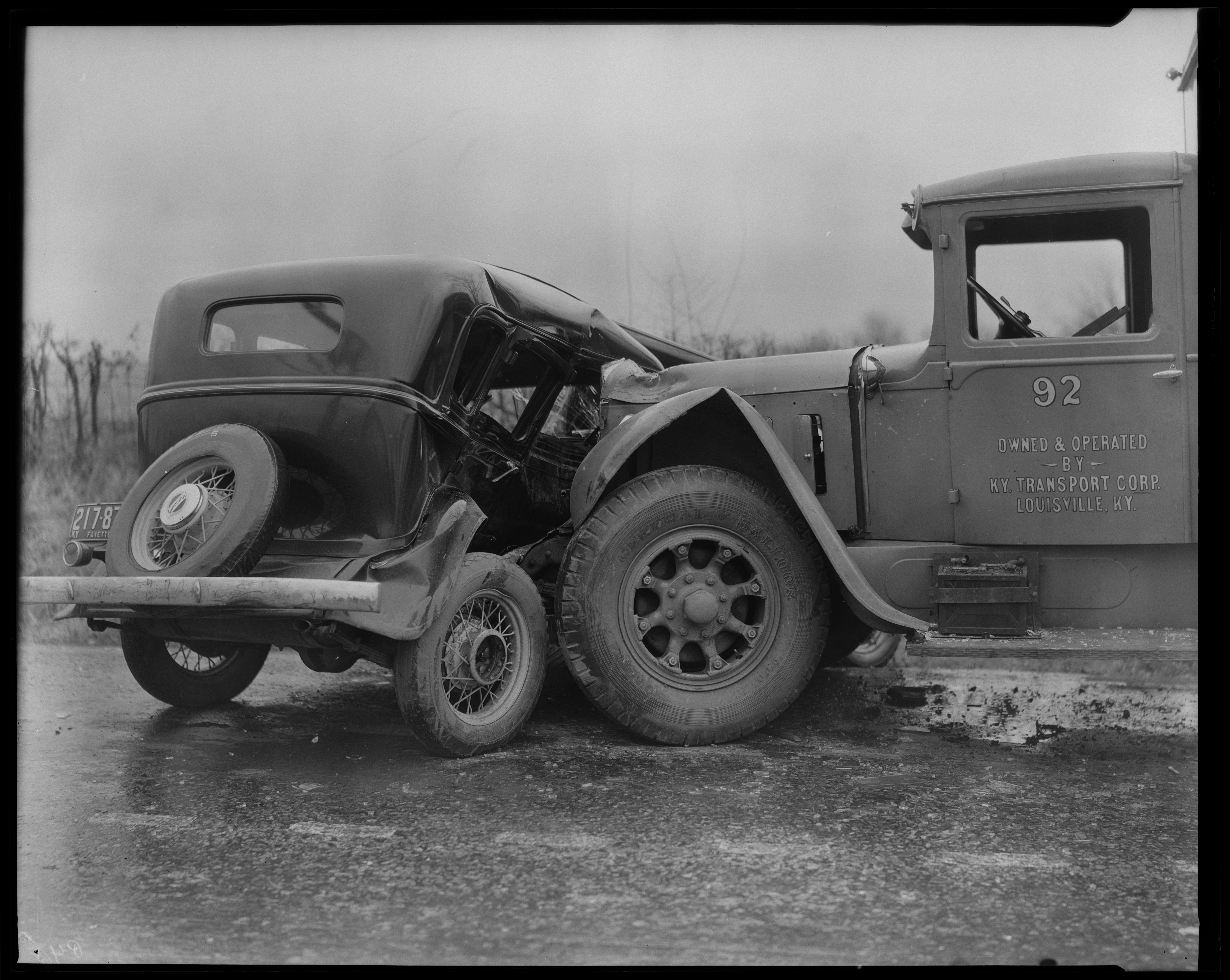 Truck, car crash (Kentucky Transport) - Kentucky Digital Library