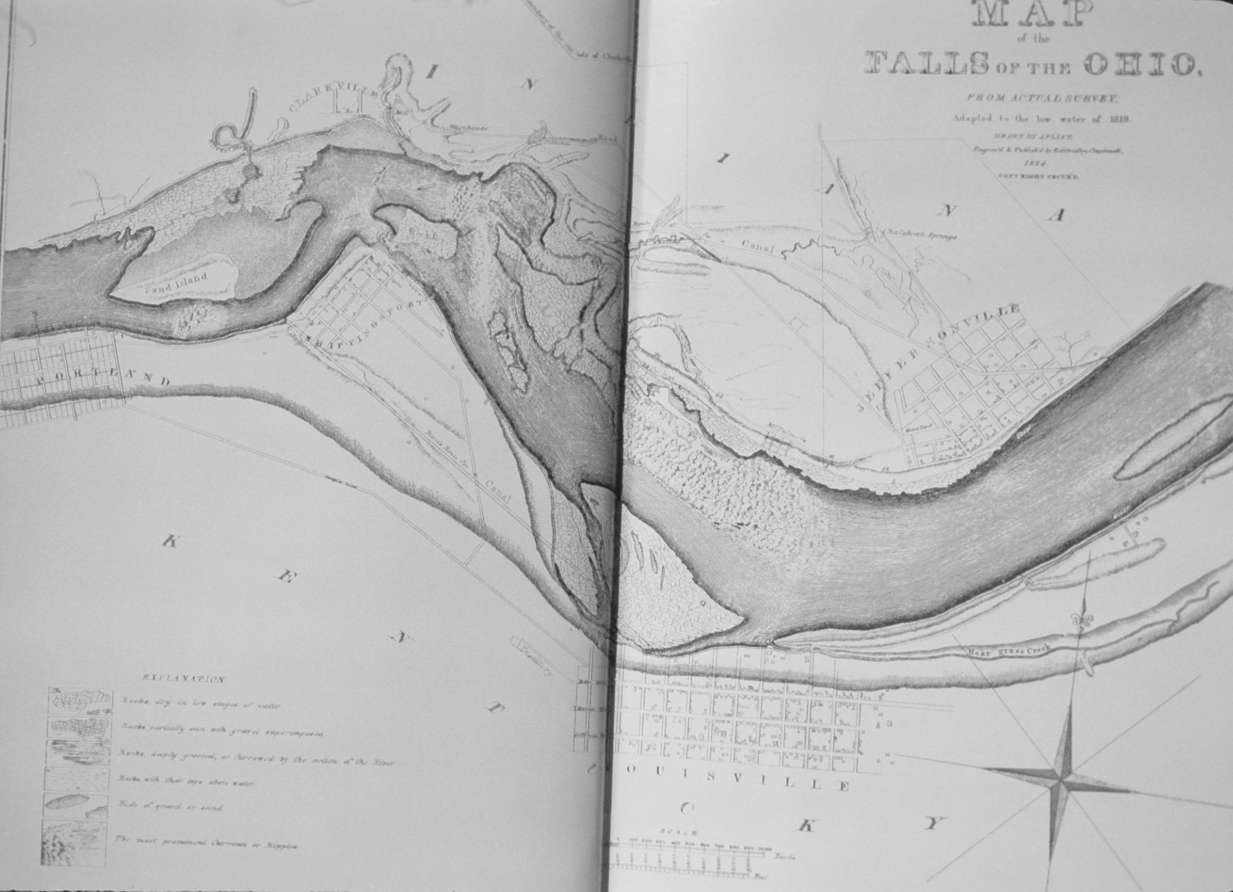 Falls Of The Ohio Map.Map Of Louisville Note On Slide And Falls Of The Ohio Low Water