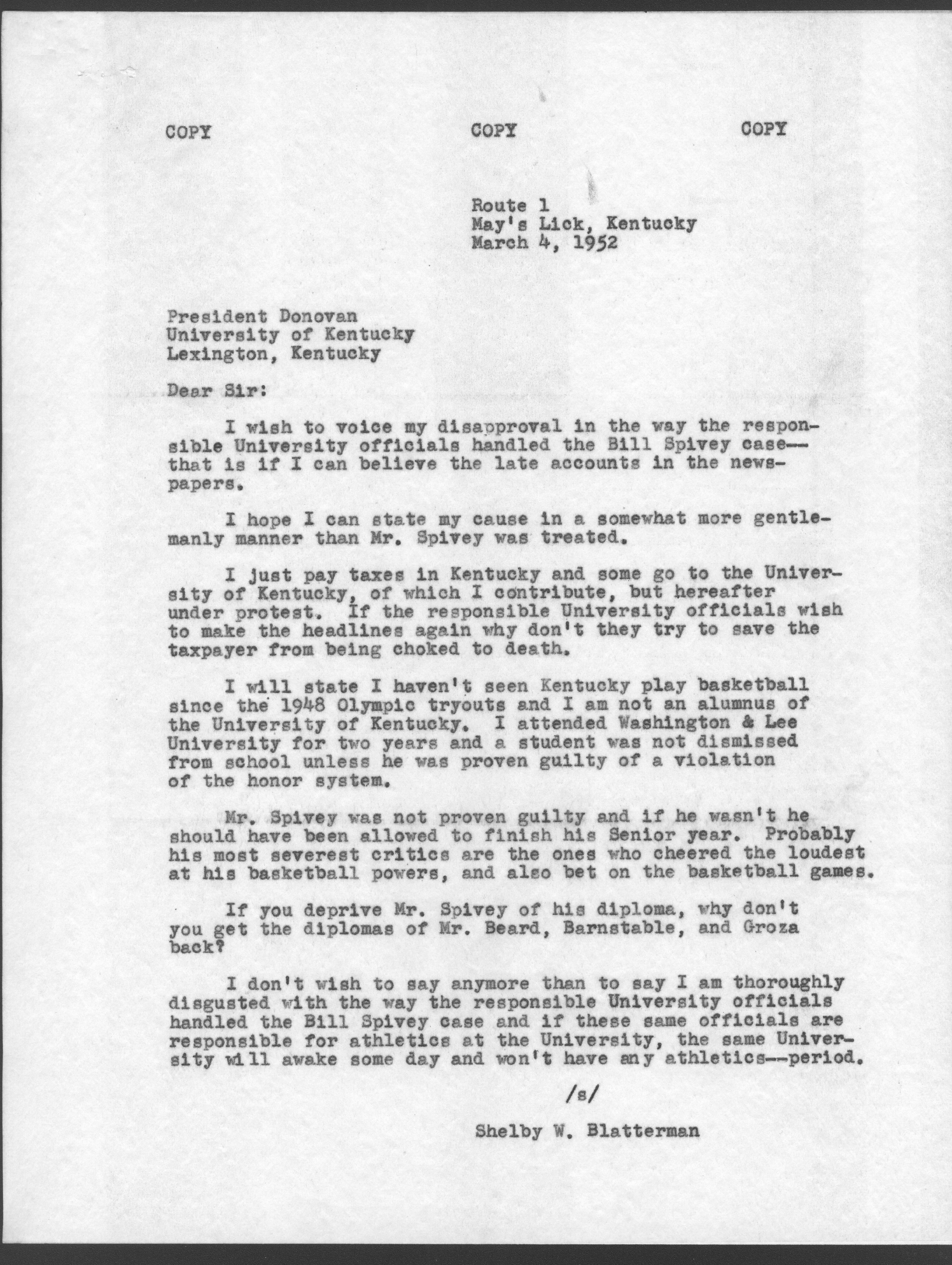 Letter from Shelby Blatterman to Herman Donovan expressing – Disagreement Letter