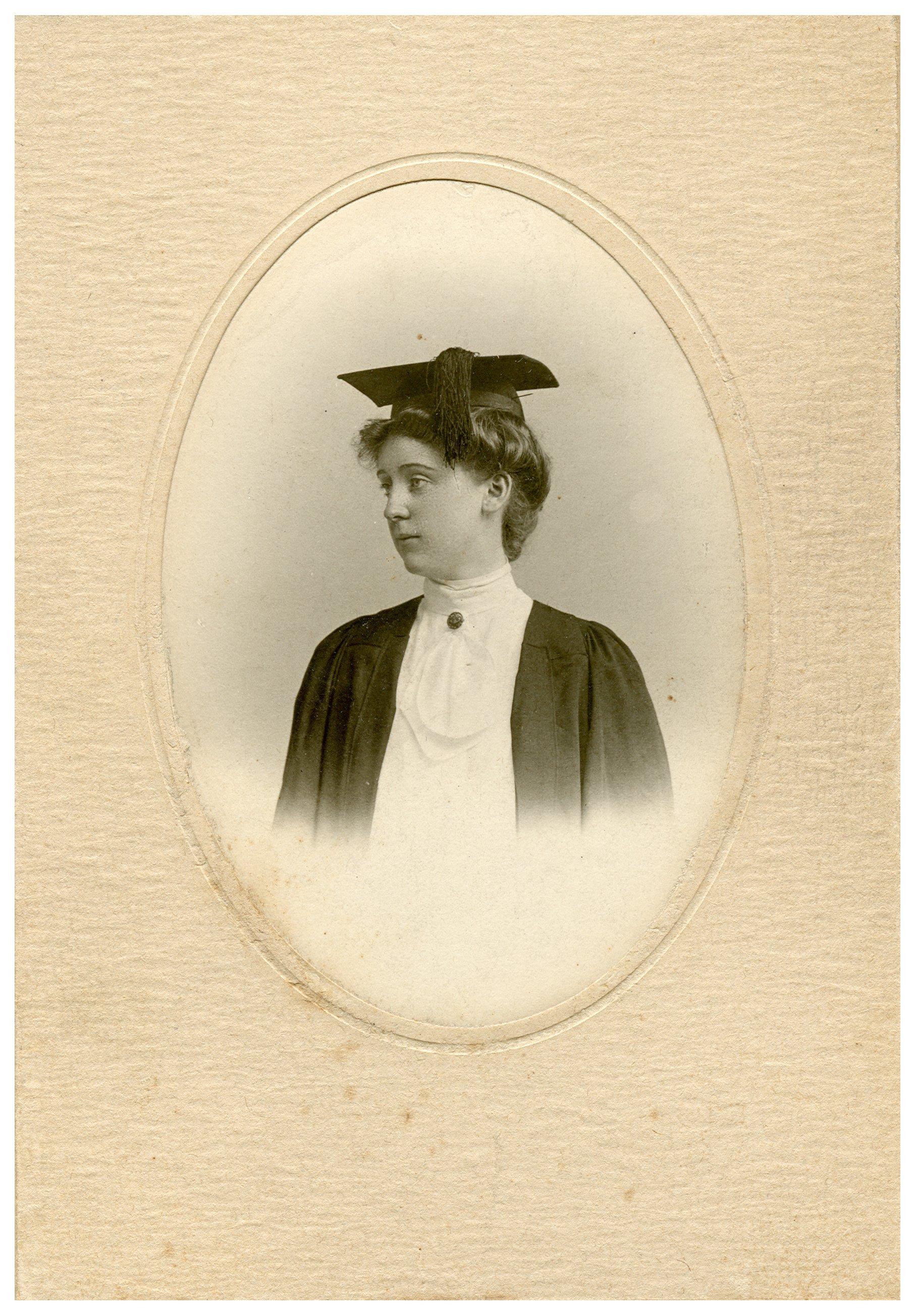 Margaret Wickliffe Preston (1885-1964) in a graduation cap and gown ...