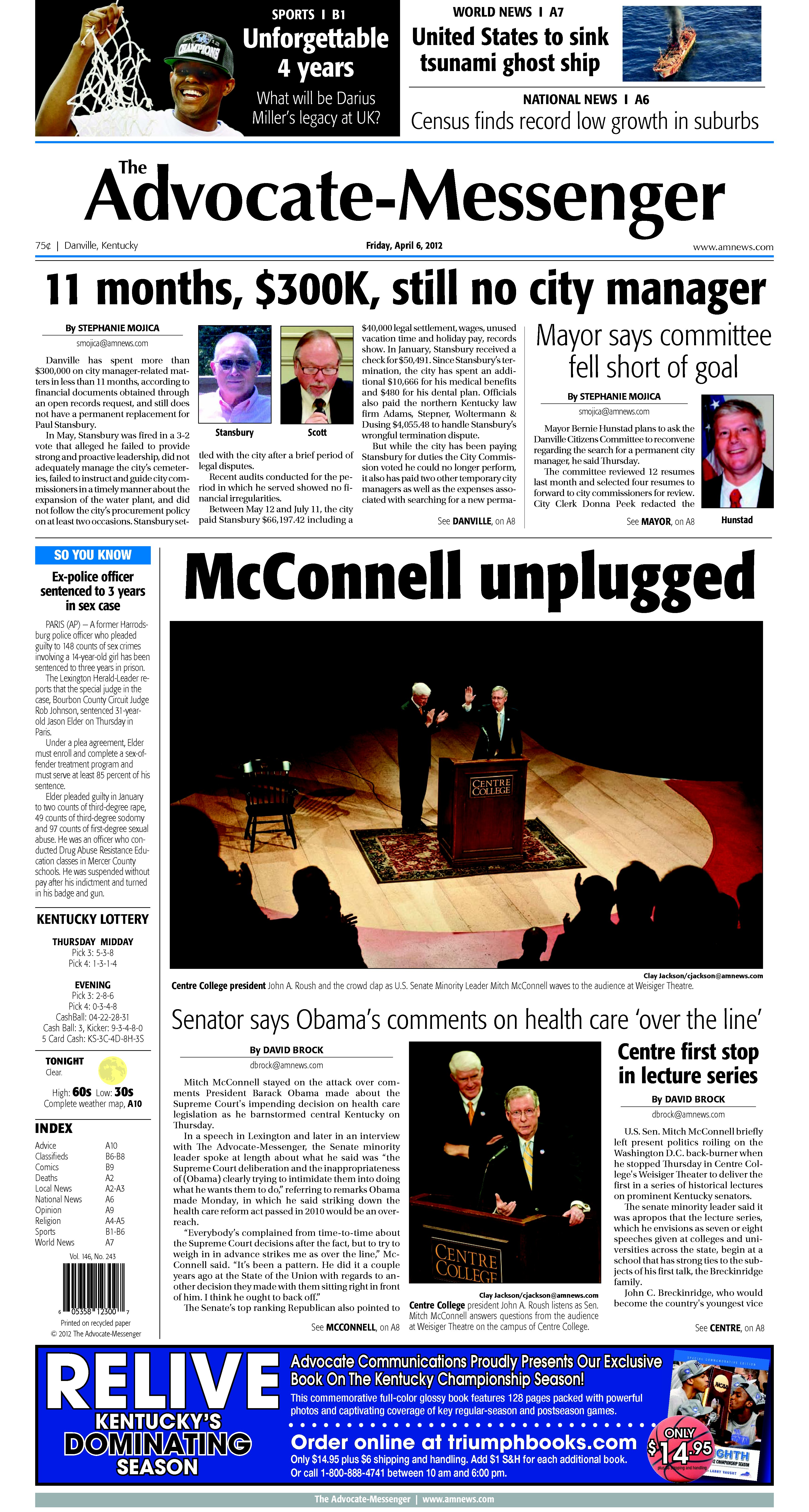 Image 1 of Advocate Messenger, April 06, 2012 - Kentucky