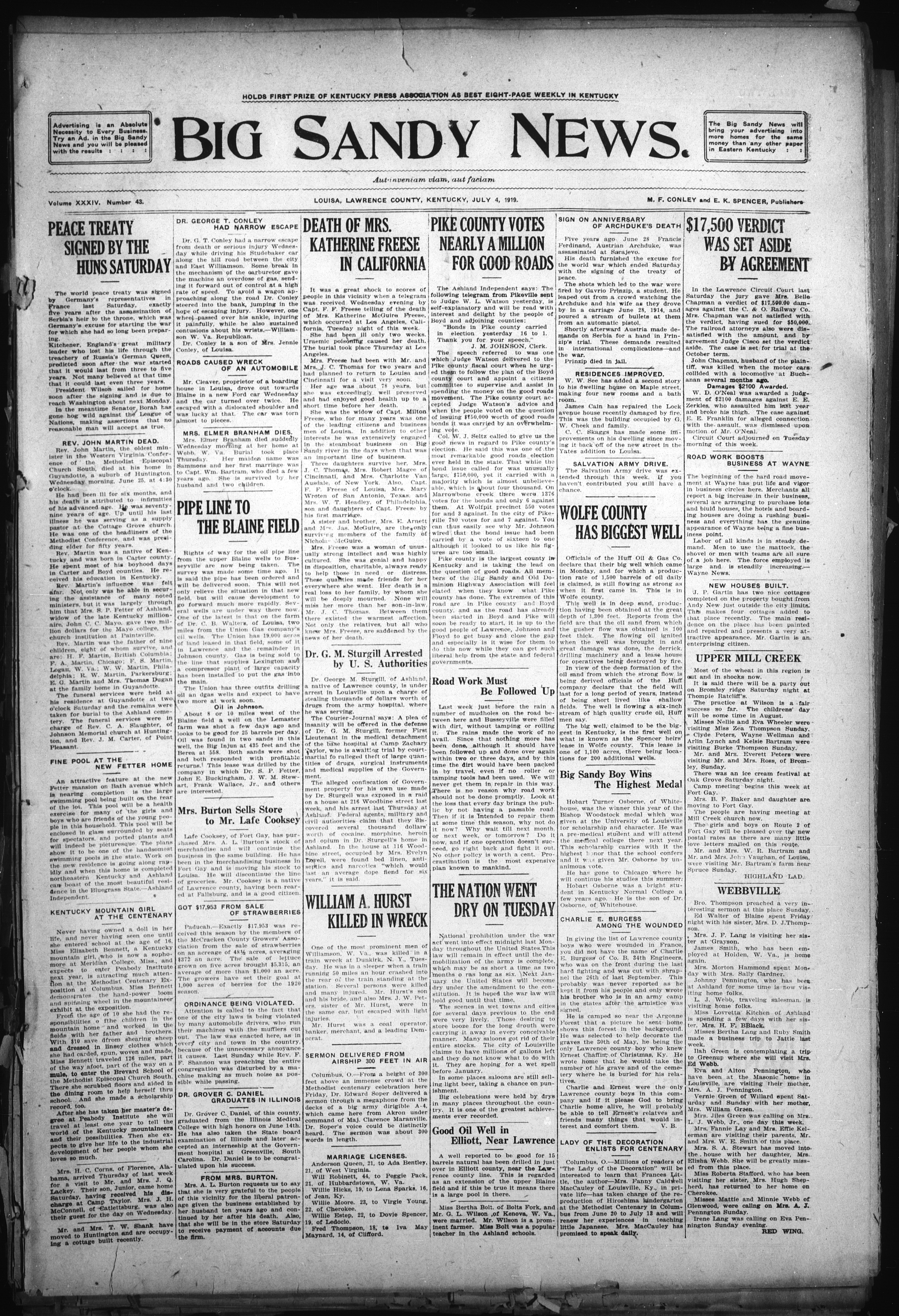 Image 1 of The Big Sandy news , July 4, 1919 - Kentucky Digital Library