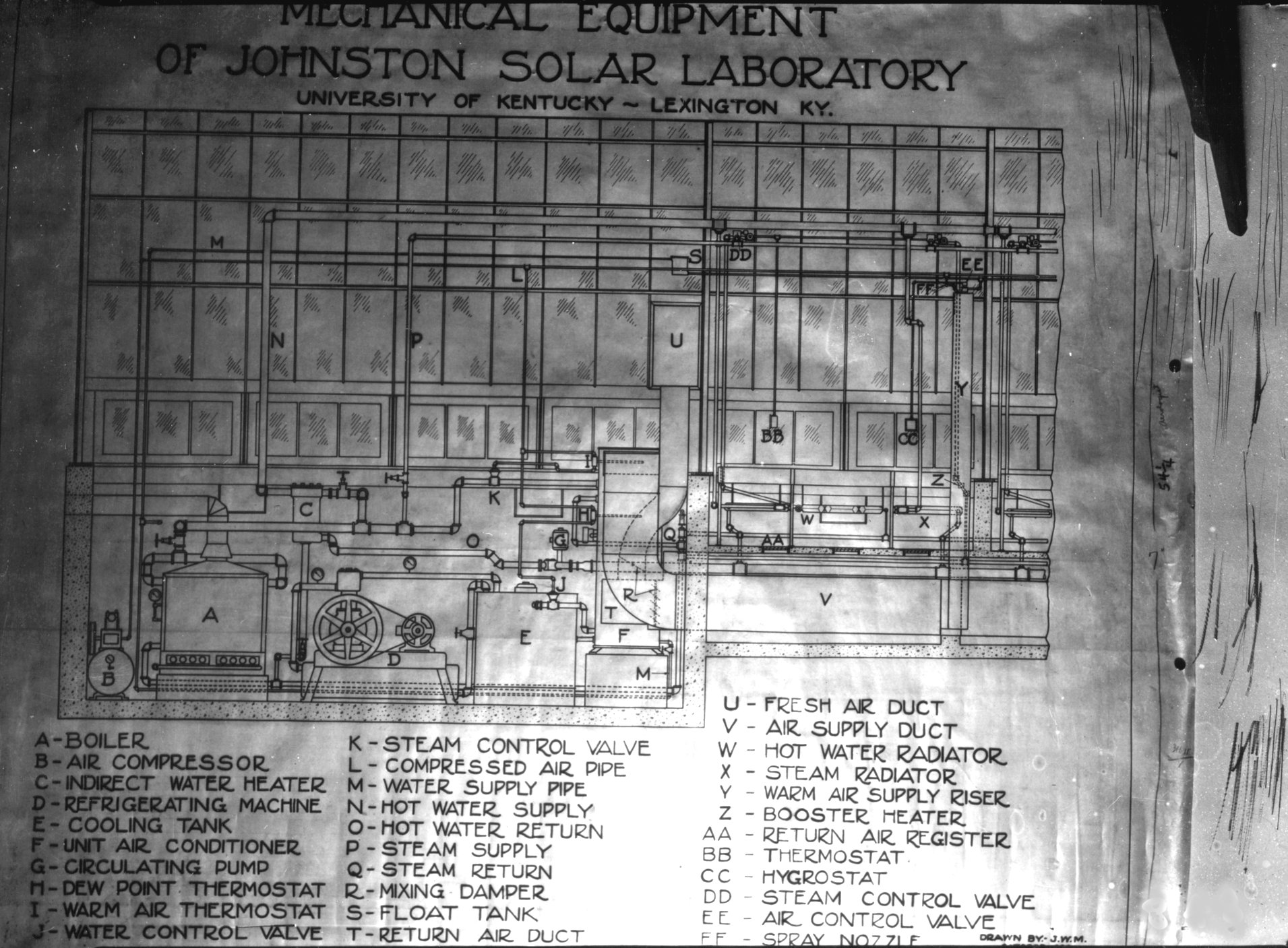 Diagram of Johnston Solar Laboratory mechanical equipment - Kentucky ...