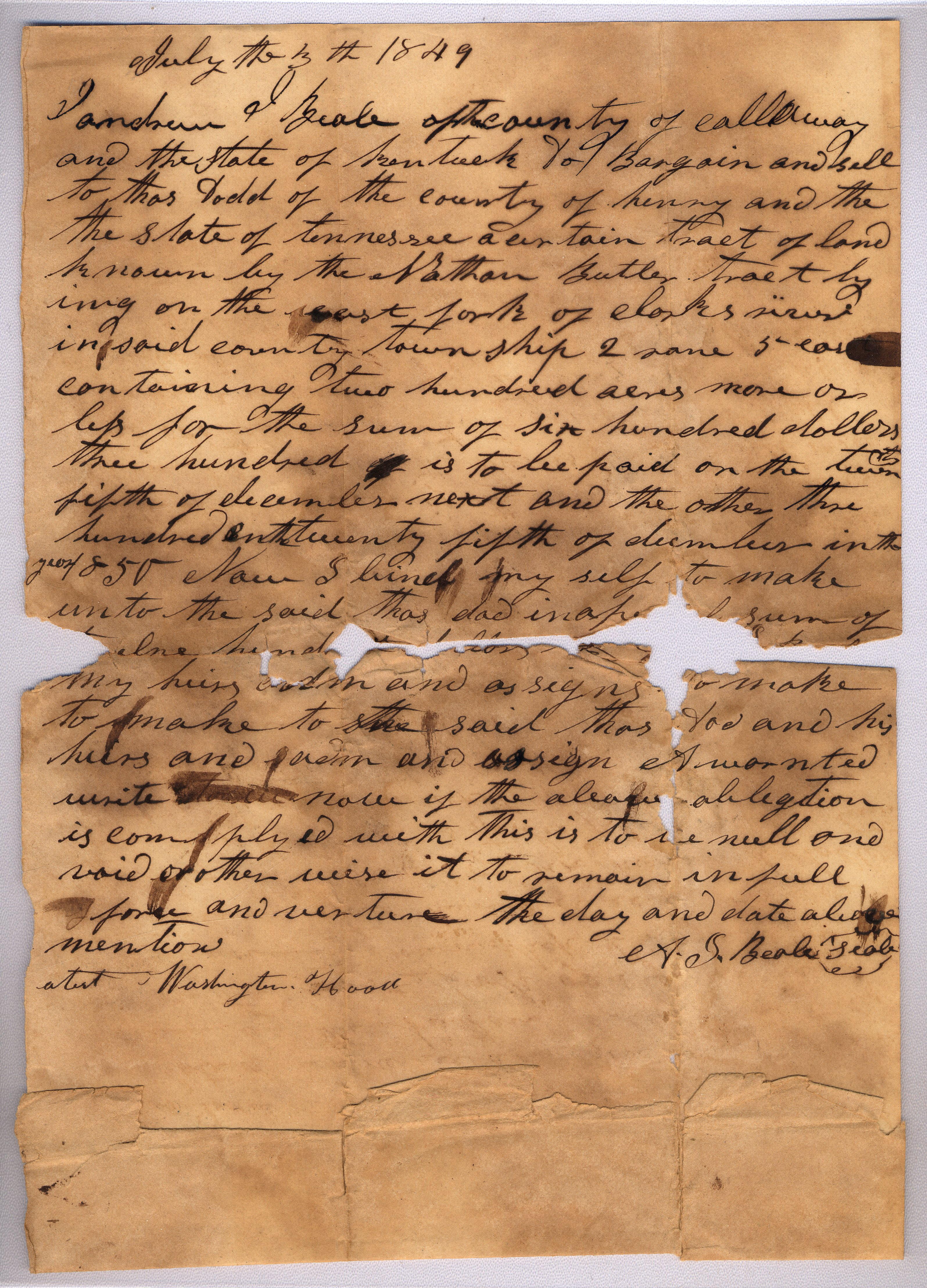 bill regarding sale of land in tennessee to thomas dodd by beale