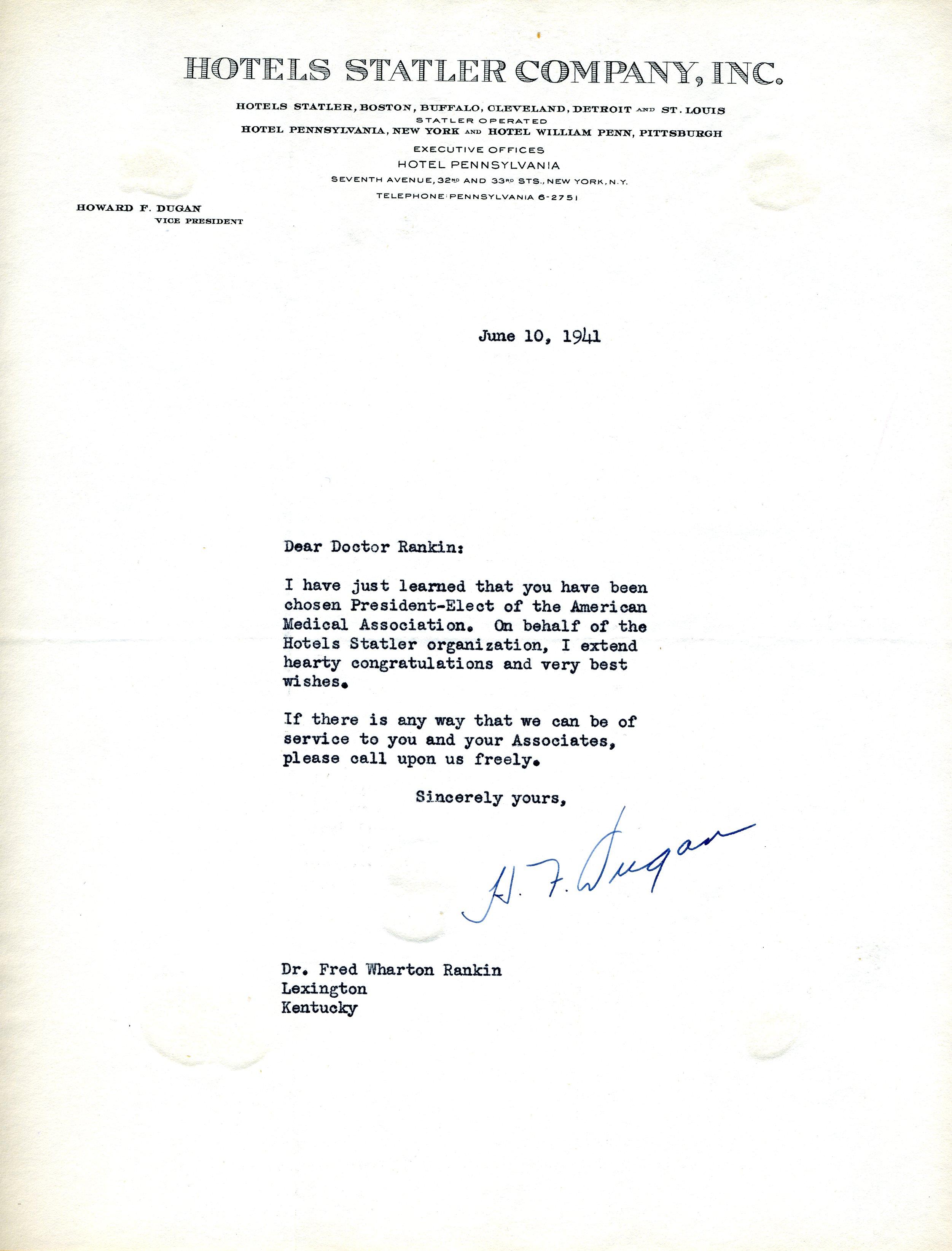 Letter from Howard F  Dugan, Vice President, Hotels Statler