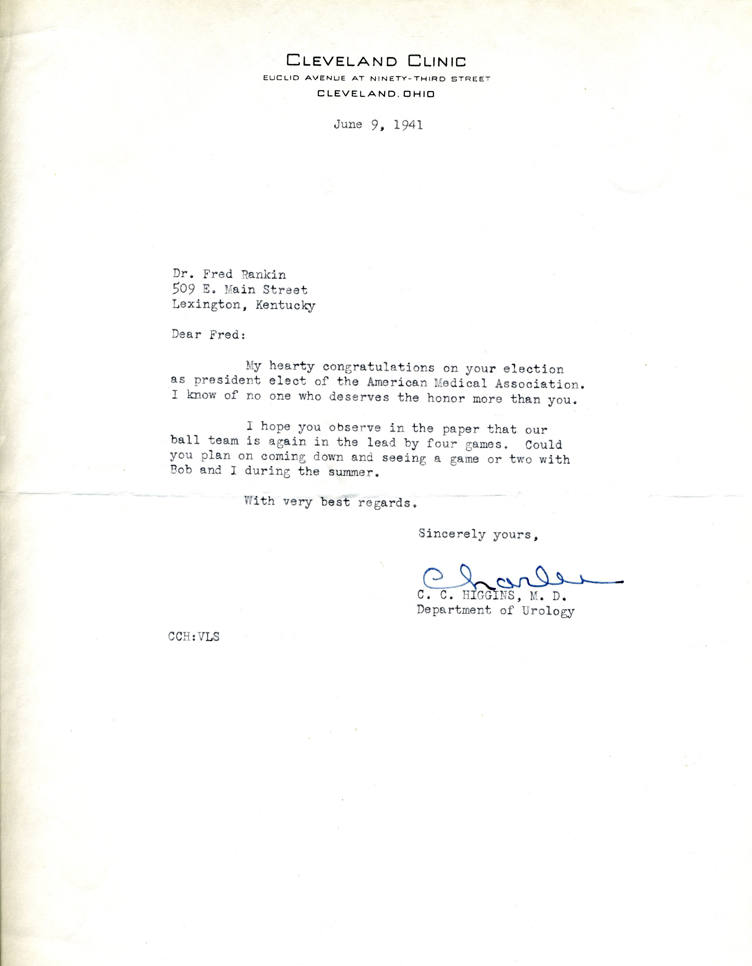 Letter from C  C  (Charles) Higgins, M D , Department of