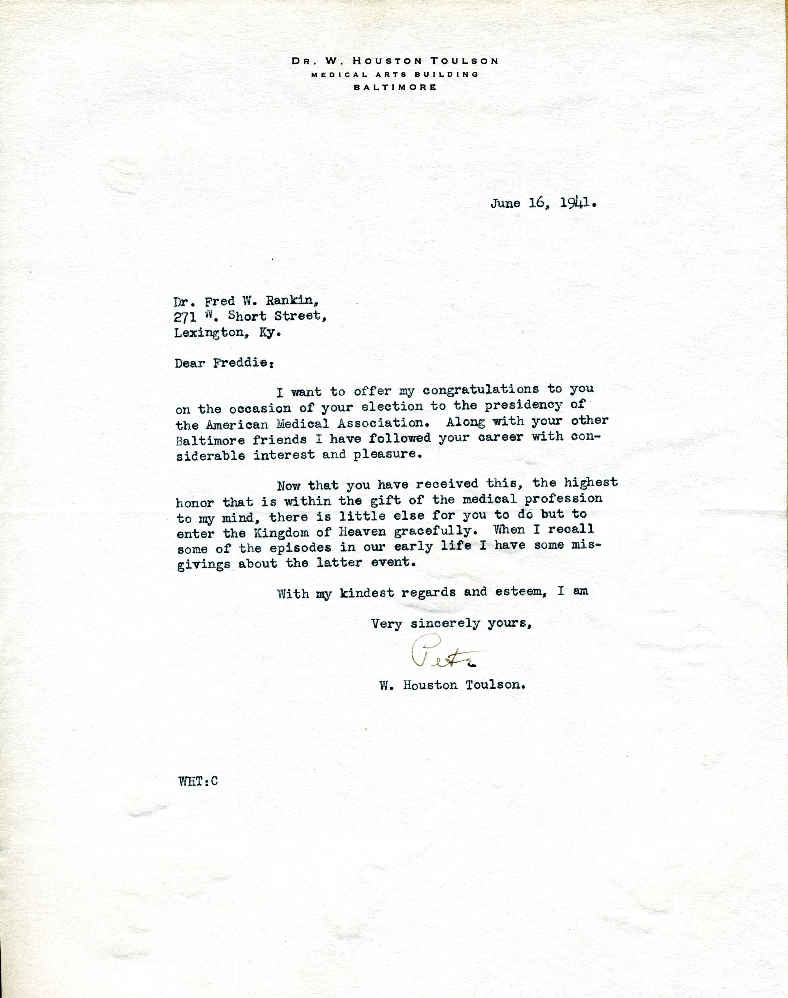 Letter from w houston pete toulson md baltimore maryland to part of fred w rankin md scrapbooks thecheapjerseys Choice Image