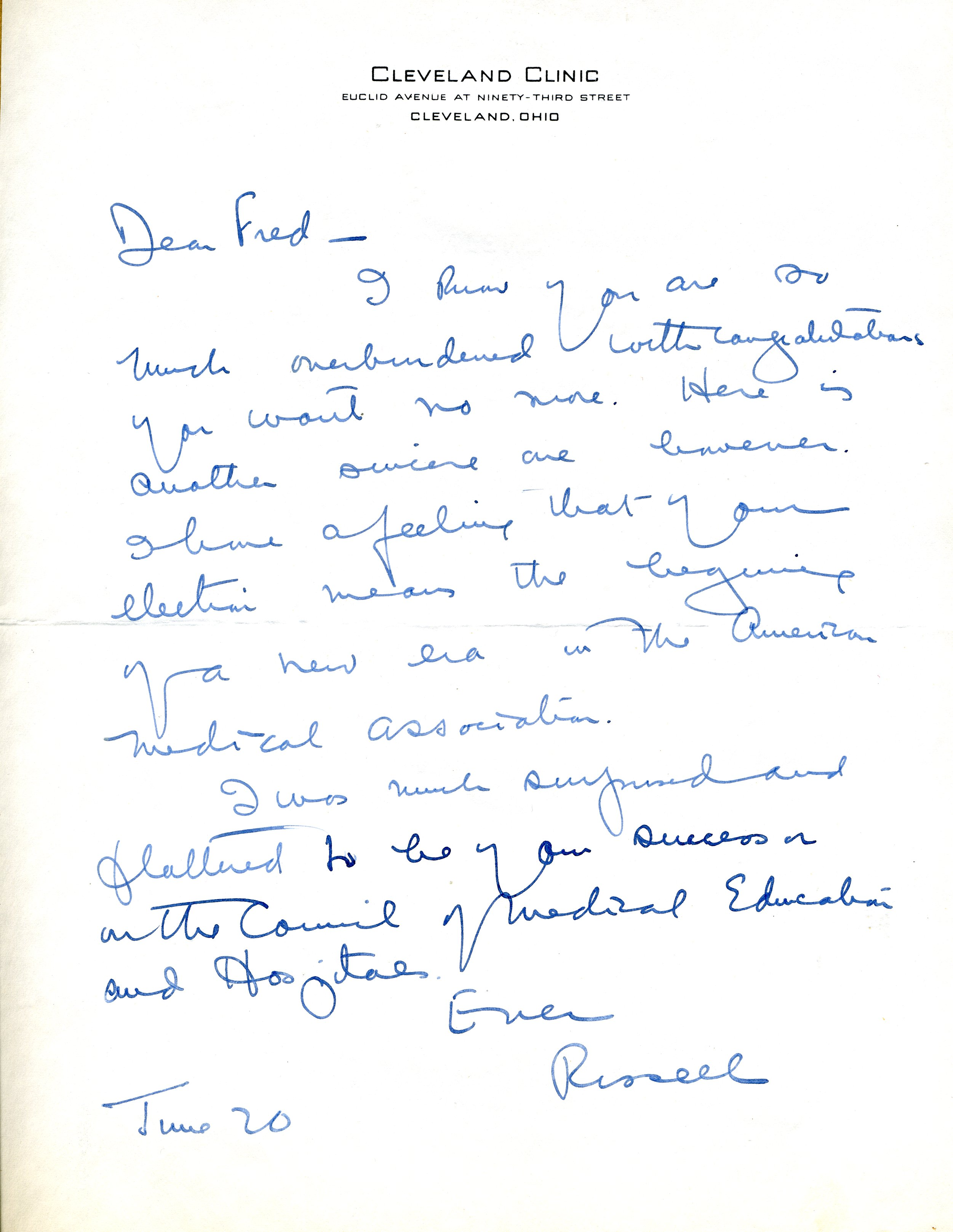 Letter from Russell [??], Cleveland Clinic, Cleveland, Ohio, to Fred