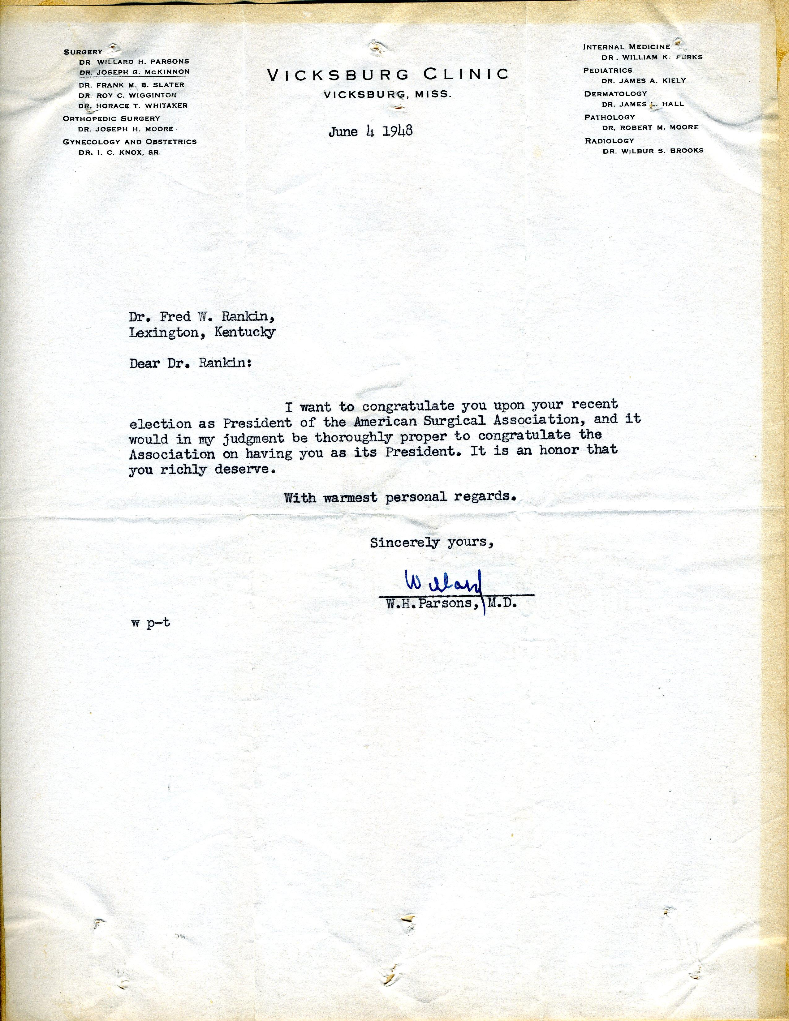 Letter from Willard H  Parsons, M D , Vicksburg Clinic, Vicksburg