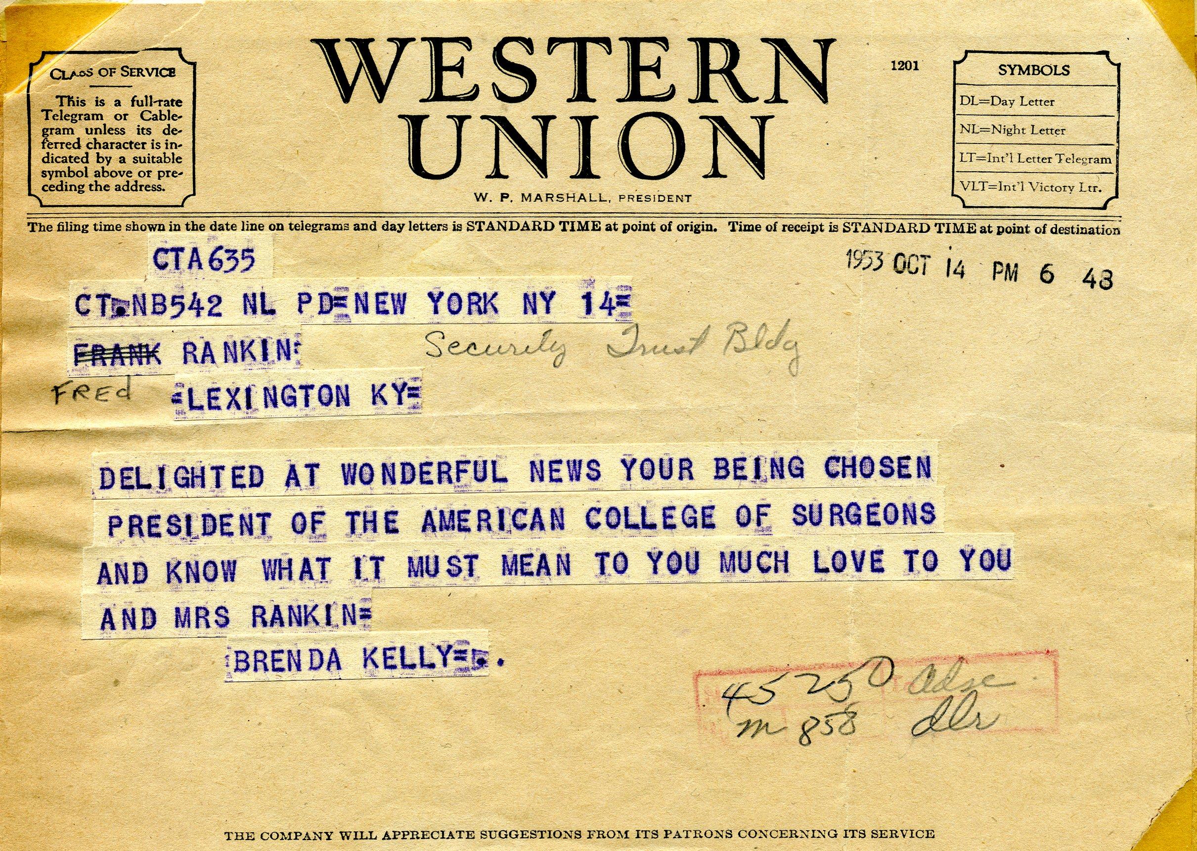 western union telegram from brenda kelly new york new york to